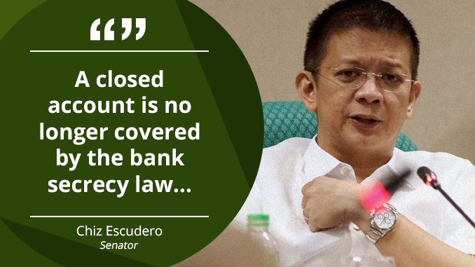 Closed Accounts Not Covered by Bank Secrecy Law – ESCUDERO