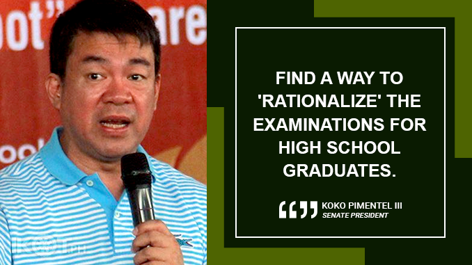 'REASONABLE' TESTING FEES IN PRIVATE UNIVERSITIES, COLLEGES – PIMENTEL