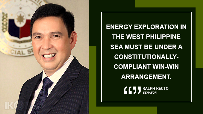 OIL EXPLORATION OVER WPS CAN BE OPEN TO ALL COUNTRIES BUT GOVERNMENT MUST NOT GIVE UP SOVEREIGNTY – RECTO