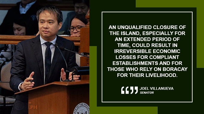 ENFORCEMENT OF LAWS CAN BE DONE WITHOUT SHUTTING BORACAY DOWN – VILLANUEVA