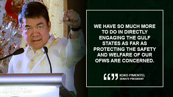 MOVE FORWARD WITH RP-KUWAIT PARTNERSHIP AFTER CONVICTION ON PINAY OFW'S DEATH – PIMENTEL