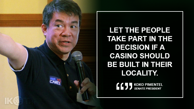 BUILDING A CASINO IN BORACAY IS FOR THE COMMUNITY TO DECIDE – PIMENTEL