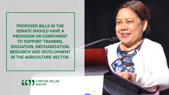 BILLS SHOULD HAVE AGRICULTURAL COMPONENT – VILLAR