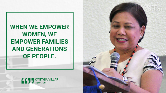 GIVE WOMEN OPPORTUNITIES TO CONTRIBUTE TO PHILIPPINE DEVELOPMENT – VILLAR
