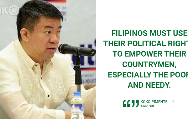 USE POLITICAL RIGHTS TO EMPOWER COUNTRYMEN – PIMENTEL