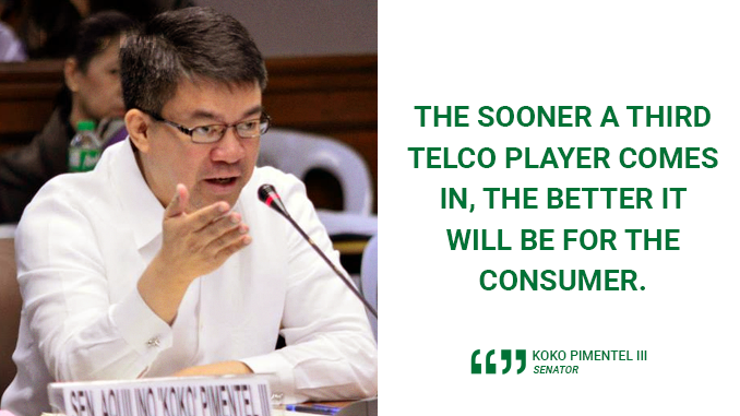DELAYS IN THIRD TELCO ENTRY SEND TERRIBLE SIGNALS TO CONSUMERS, BUSINESS SECTOR – PIMENTEL