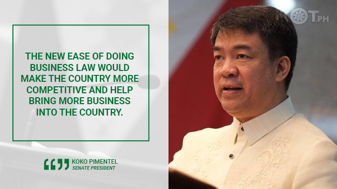 NEW EASE OF DOING BUSINESS LAW TO ATTRACT INVESTMENTS AND CREATE JOBS – PIMENTEL