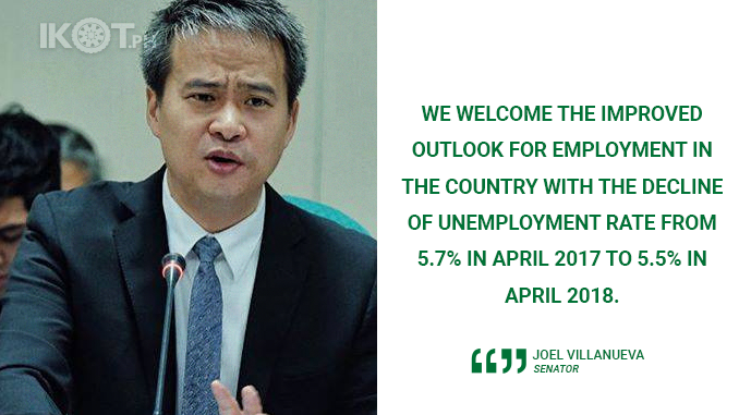 WE WELCOME THE IMPROVED UNEMPLOYMENT RATE IN APRIL – VILLANUEVA