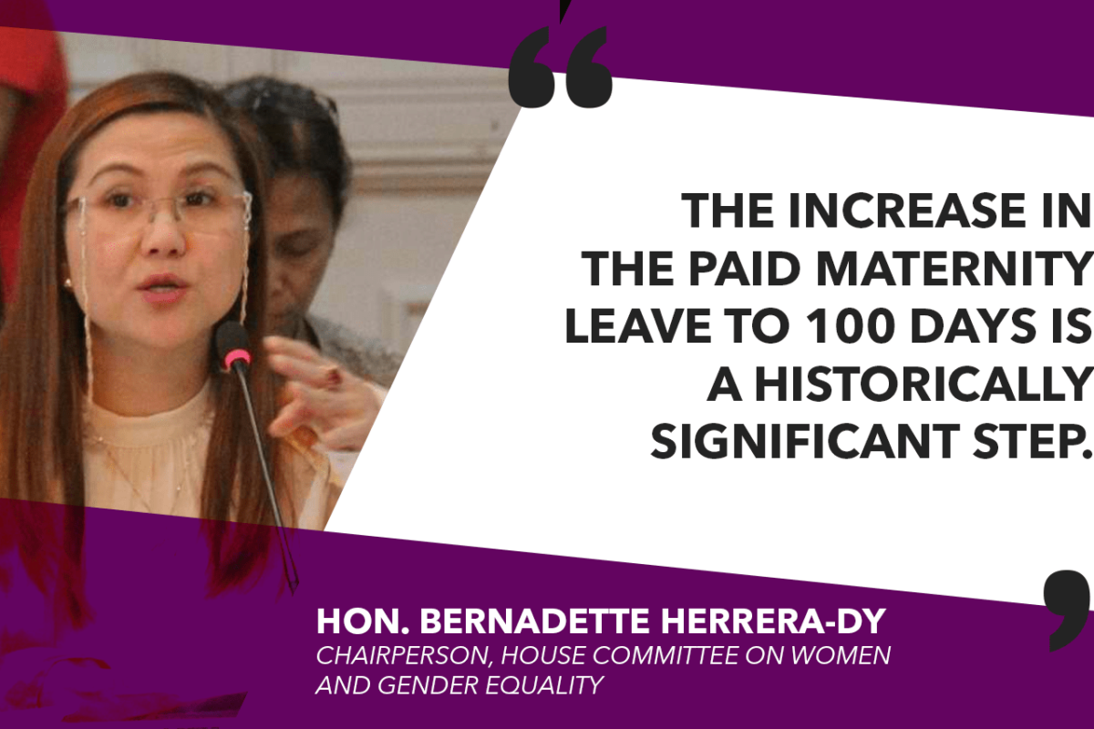 HOUSE APPROVES 100-DAY MATERNITY LEAVE LAW ON FINAL READING – HERRERA-DY