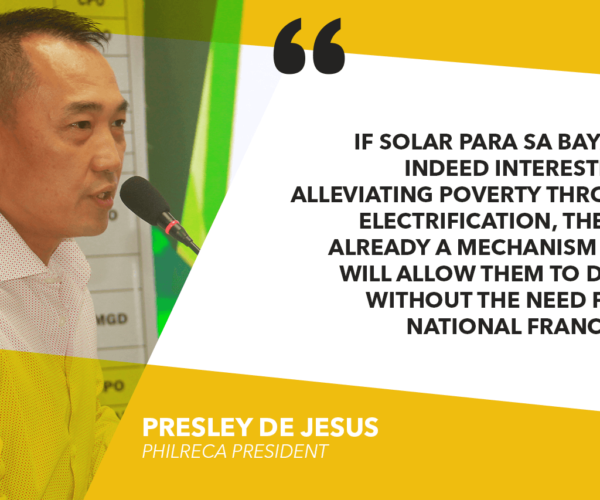 SOLAR PARA SA BAYAN USING LEGISLATIVE FRANCHISE TO CIRCUMVENT EPIRA – ELECTRIC COOPS