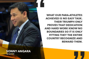 FILIPINO PARA-ATHLETES TO RECEIVE CASH AWARDS FOR WINNING IN ASIA PARA GAMES – ANGARA