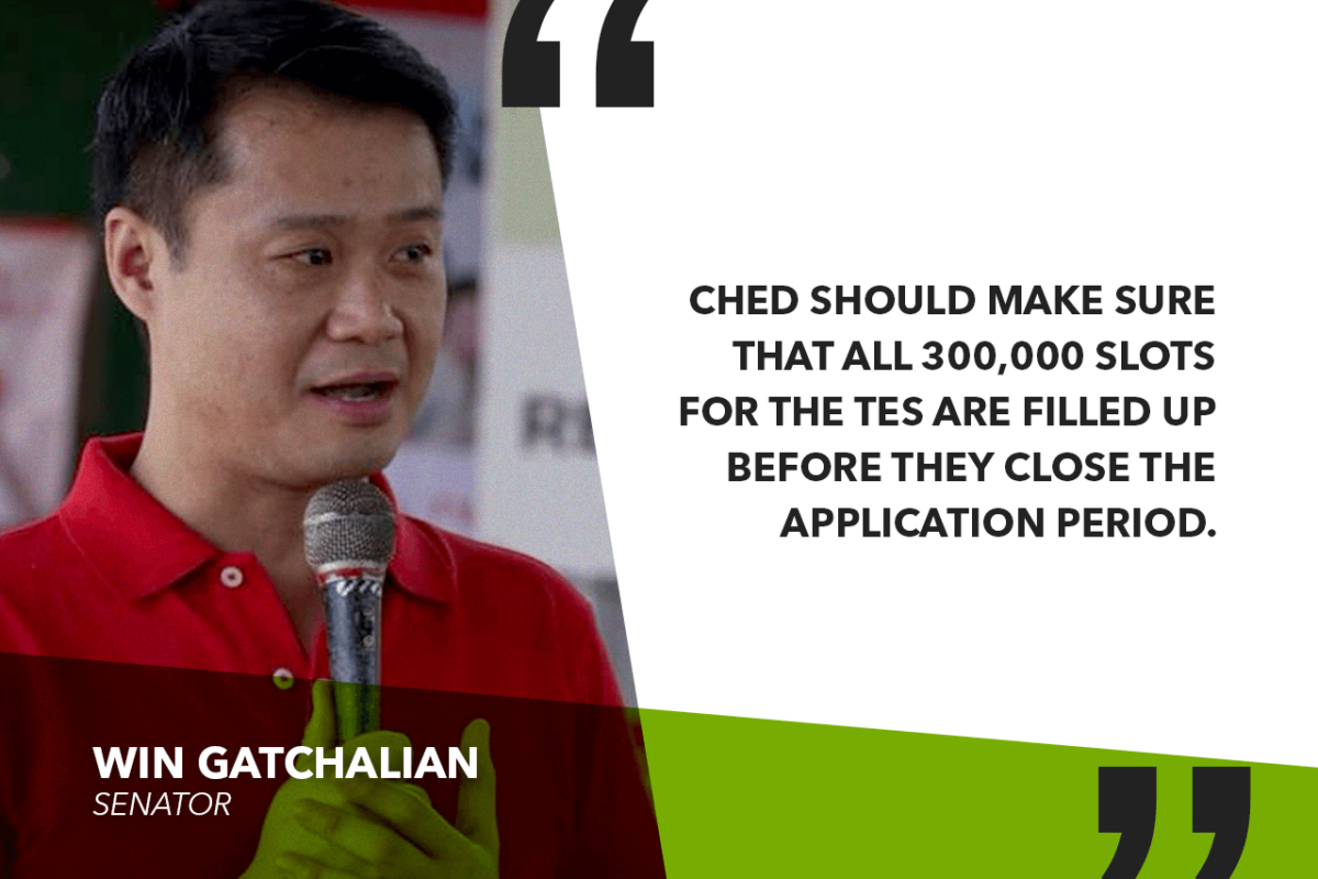 GATCHALIAN TO CHED: EXTEND DEADLINE OF TERTIARY EDUCATION SUBSIDY TO FILL UP 300,00 SLOTS