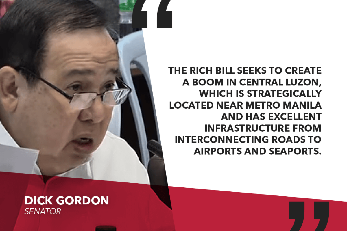 SENATE APPROVES REGIONAL INVESTMENT AND INFRASTRUCTURE COORDINATING HUB OF CENTRAL LUZON – GORDON