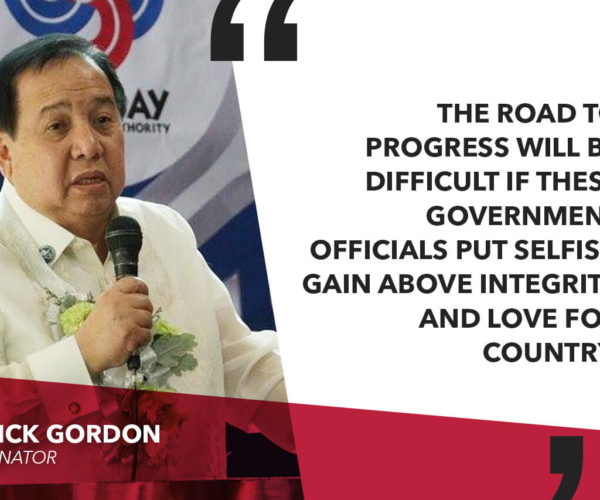 GORDON TO NBI: AMEND ROAD RIGHT OF WAY SCAM CHARGE SHEET, INCLUDE MORE GOV'T OFFICIALS