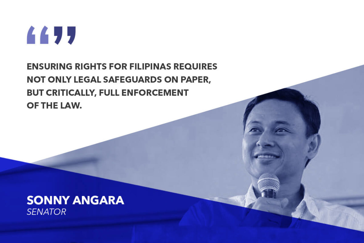 FULLY IMPLEMENT LAWS PROTECTING FILIPINO WOMEN AGAINST ALL FORMS OF VIOLENCE – ANGARA