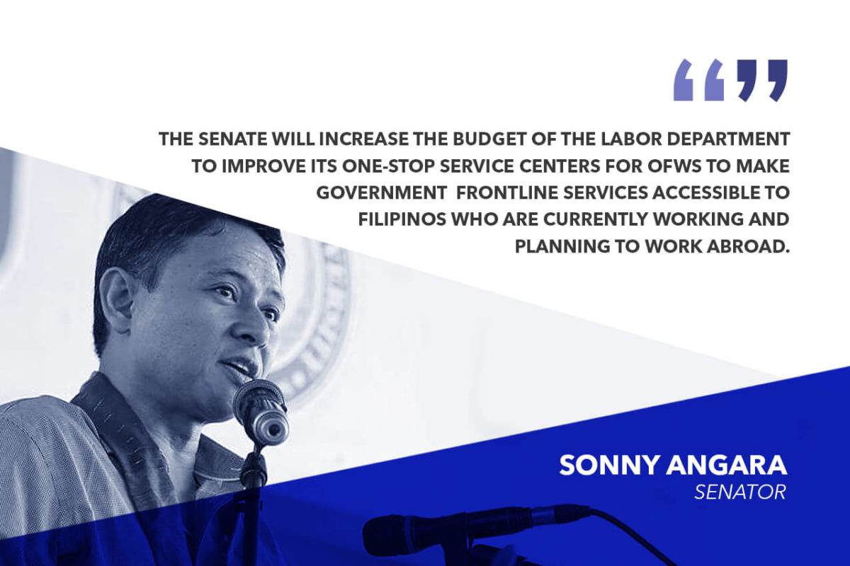 DOLE INCREASES BUDGET TO BENEFIT OFWS – ANGARA
