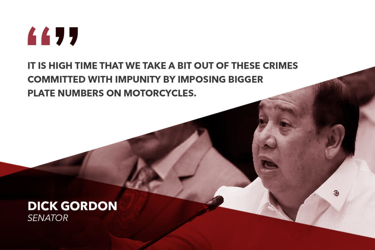 LAW ON BIGGER MOTORCYCLE LICENSE PLATES TO PREVENT RIDING-IN-TANDEM CRIMES – GORDON