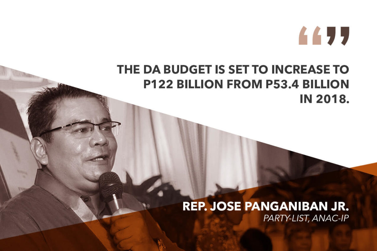 NO EXCUSE FOR POOR AGRI PERFORMANCE WITH DA BUDGET SET TO DOUBLE IN 2019  PANGANIBAN