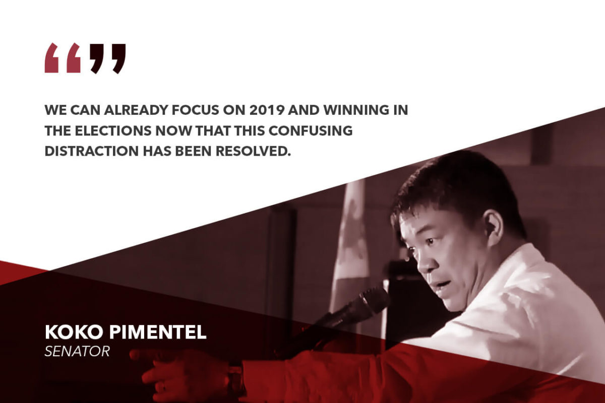 PARTY ISSUE RESOLVED, PDP-LABAN NOW FOCUSED ON WINNING – PIMENTEL