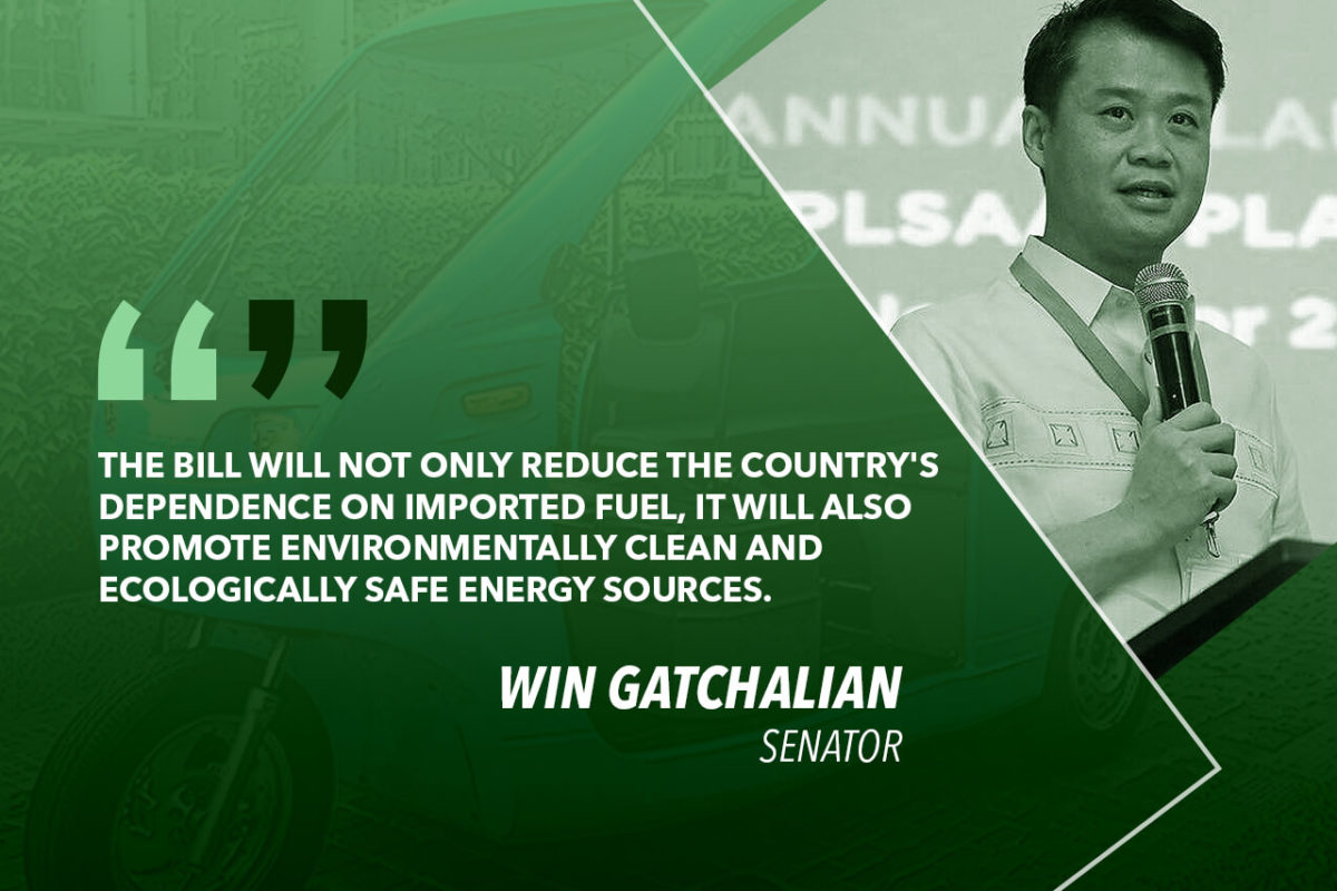 INSTALL CHARGING STATIONS, PARKING SLOTS FOR E-VEHICLES – GATCHALIAN