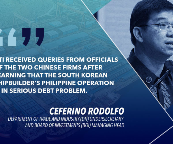 CHINESE SHIPBUILDERS INTERESTED IN TAKING OVER HANJIN IN SUBIC – RODOLFO