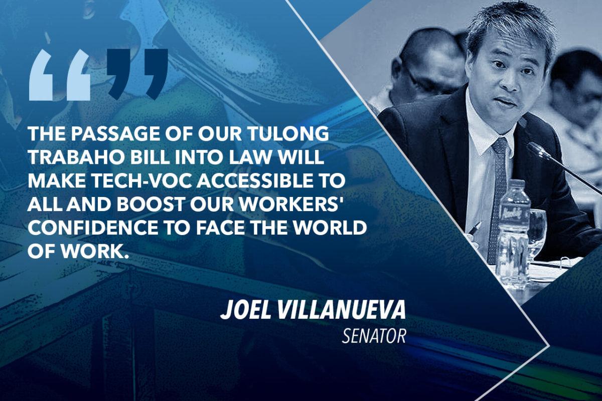 VILLANUEVA TO DUTERTE: SIGN THE TULONG TRABAHO BILL