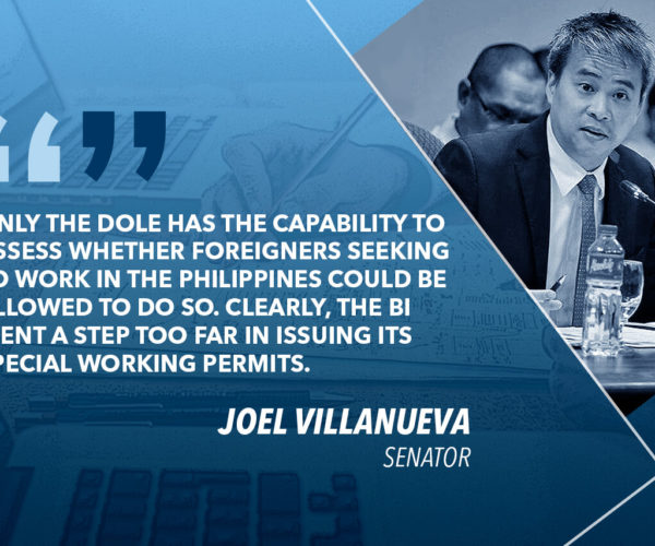 REQUIRE BI TO COORDINATE WITH DOLE BEFORE ISSUING SPECIAL WORK PERMITS – VILLANUEVA