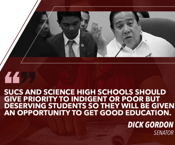GORDON TO SUCs, SCIENCE HIGH SCHOOLS: PRIORITIZE POOR BUT DESERVING STUDENTS