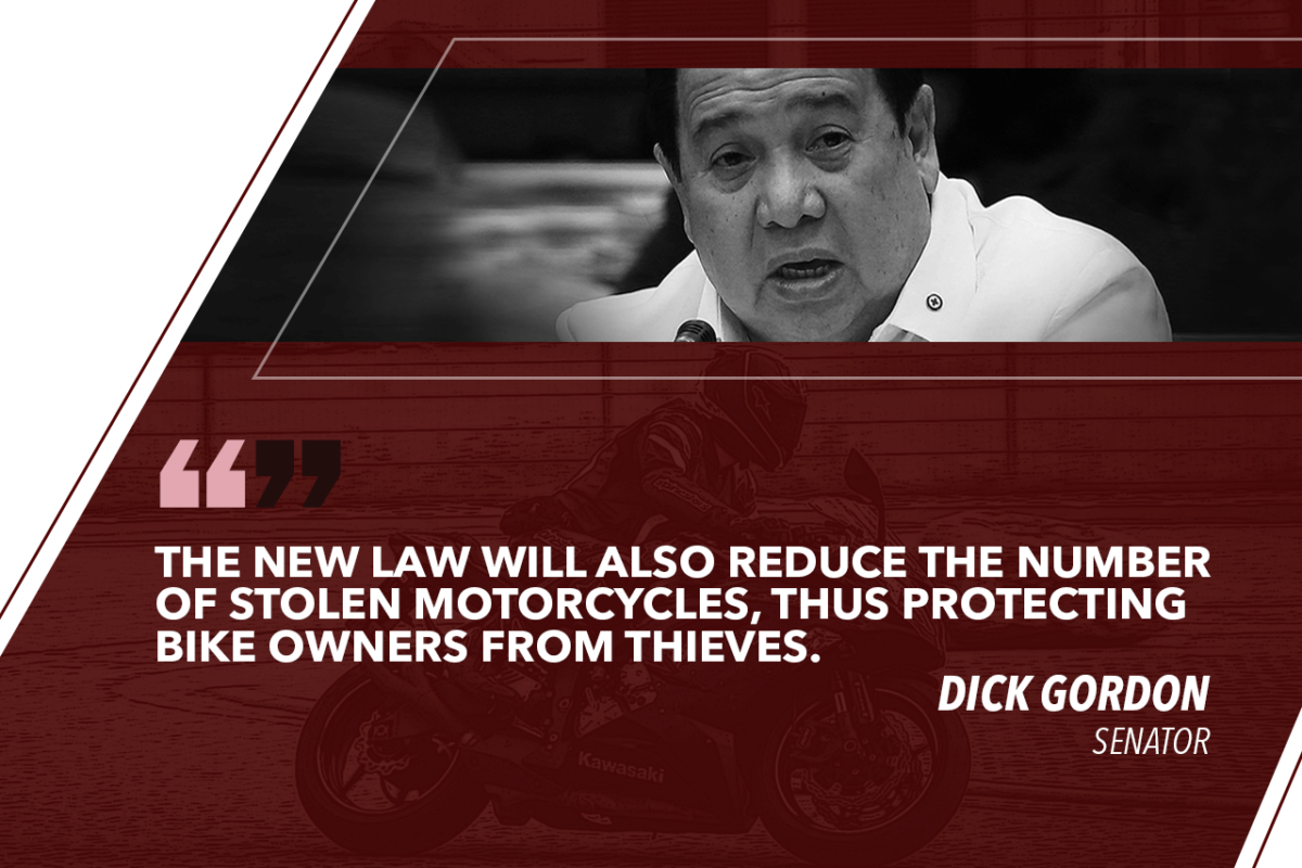 LAW ON BIGGER MOTORCYCLE PLATES TO PROTECT MOTORBIKE OWNERS – GORDON