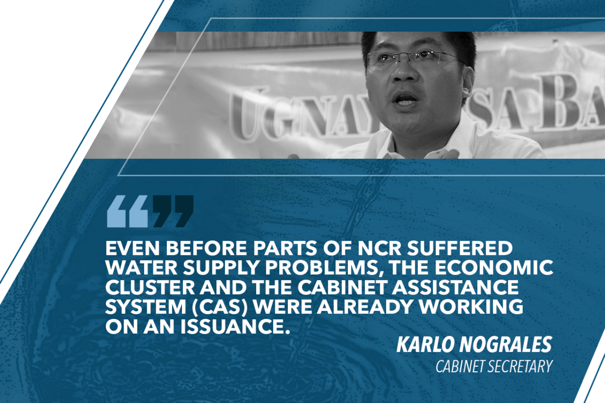 PALACE WORKING ON EO TO ADDRESS PH WATER ISSUES – NOGRALES