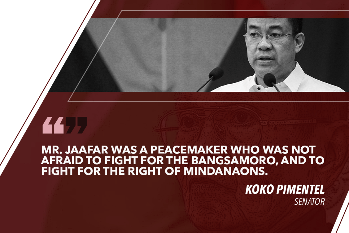 JAAFAR A PEACEMAKER WHO FOUGHT FOR PEACE IN MINDANAO – PIMENTEL