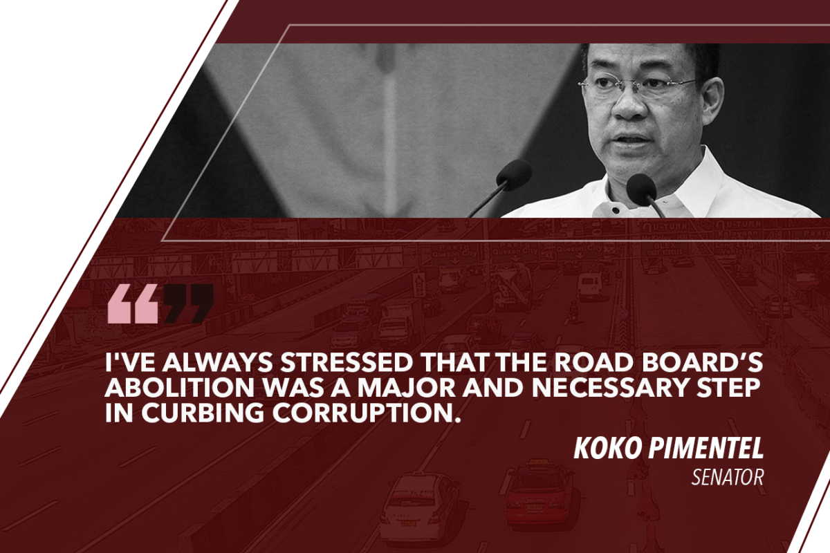 ROAD BOARD ABOLITION SHOWS HOW SERIOUS PRESIDENT DUTERTE IS IN FIGHT VS CORRUPTION – PIMENTEL