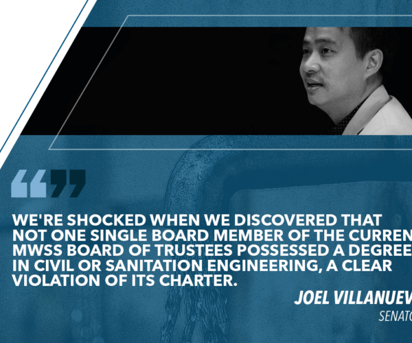 MWSS BOARD LACKS TECHNICAL EXPERTISE – VILLANUEVA
