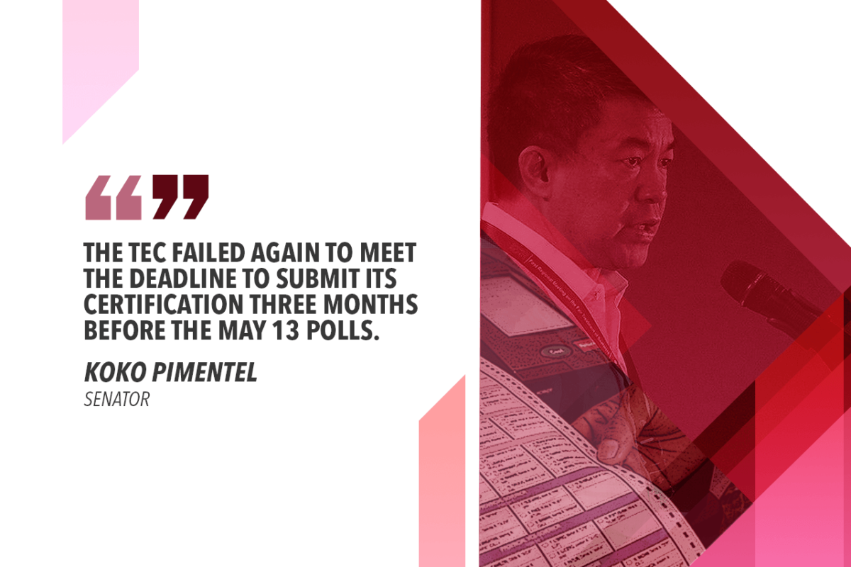 IMMEDIATELY ADDRESS DELAY IN AUTOMATED POLL SYSTEM CERTIFICATION — PIMENTEL