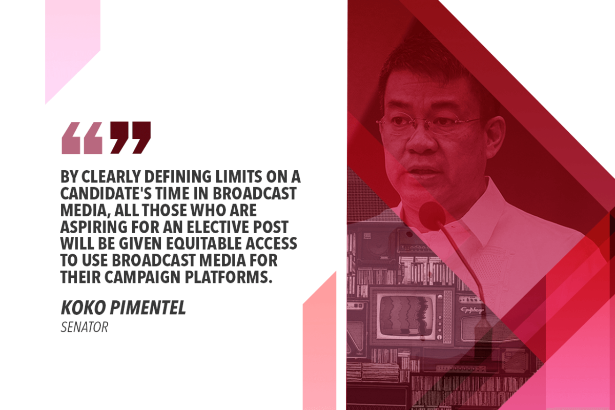 ENSURE EQUITABLE MEDIA ACCESS FOR ALL CANDIDATES, PARTIES – PIMENTEL