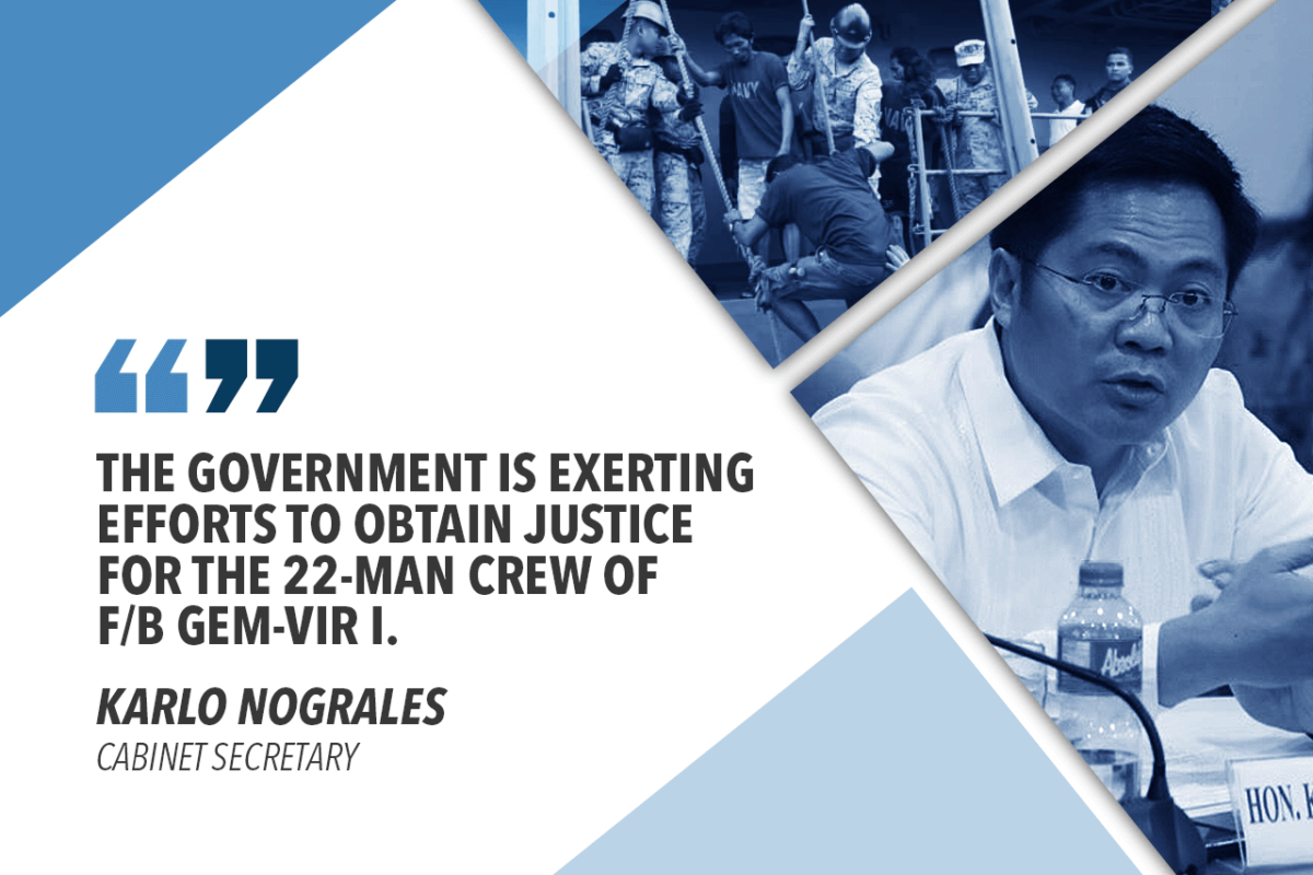 GOV'T EXTENDS ASSISTANCE TO RESCUED FISHERMEN – NOGRALES
