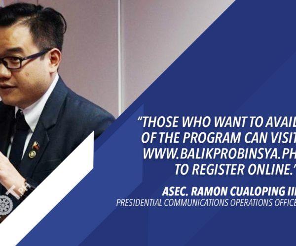 BALIK PROBINSYA ROLLOUT TO START IN 13 PROVINCES – PCOO