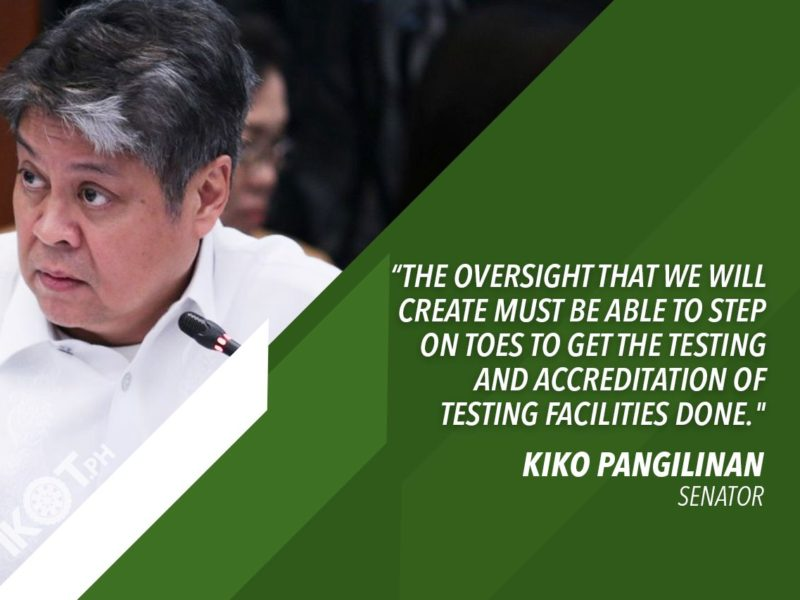PH HAS NOT REACHED TARGET OF 1-M COVID-19 TESTS FOR MONTH OF MAY – PANGILINAN