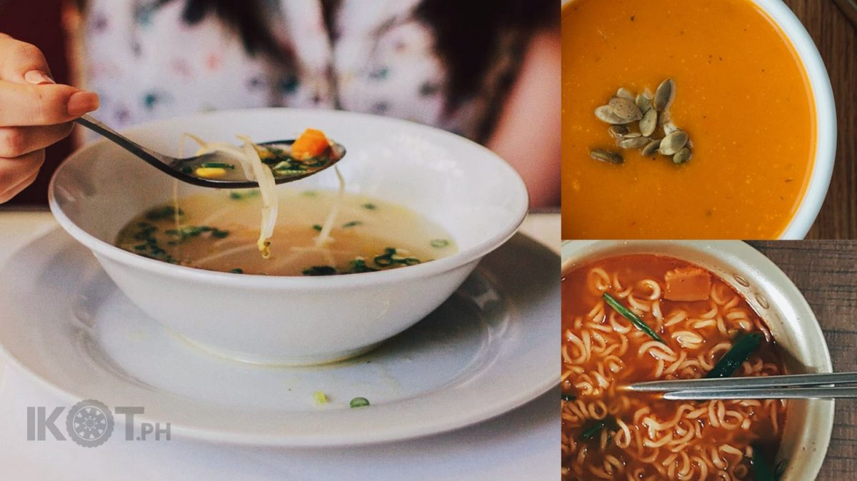 different photos of soup in a collage