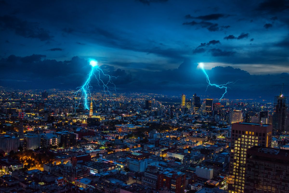 lighting affecting a city during a storm
