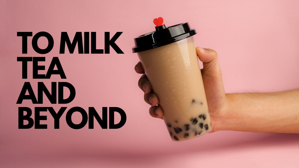 Milk tea cup with words to milk tea and beyond