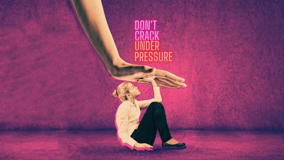 Girl under a hand on pressure with words dont break under pressure