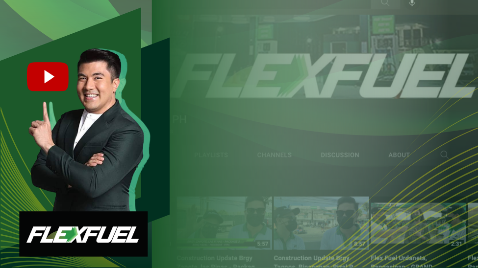 Flex Fuel with Luis Manzano pointing the YouTube icon.
