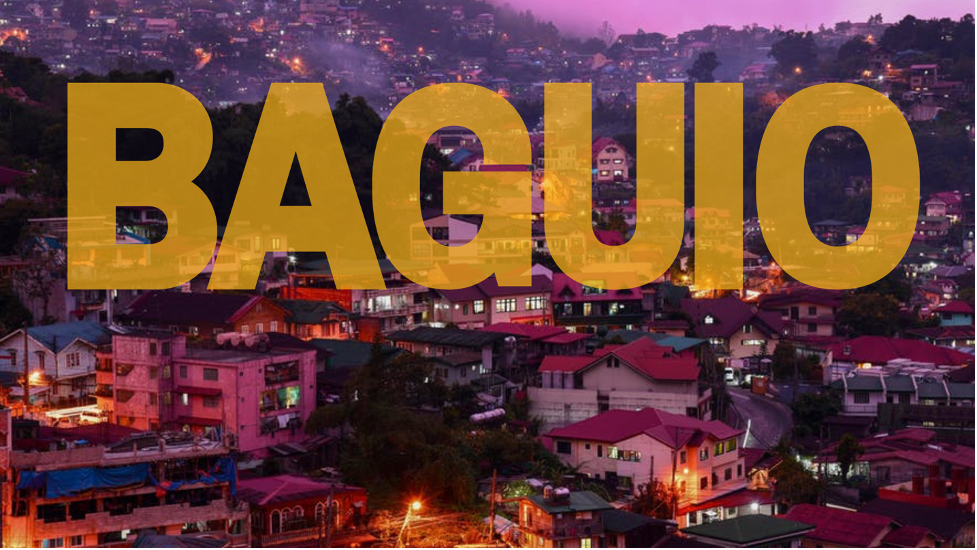 Baguio caption in front of Baguio City